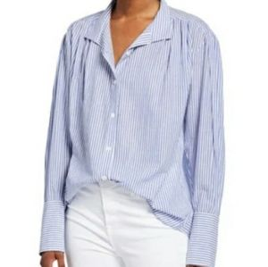 FRAME Pleated Clean-Collared Striped Shirt  L